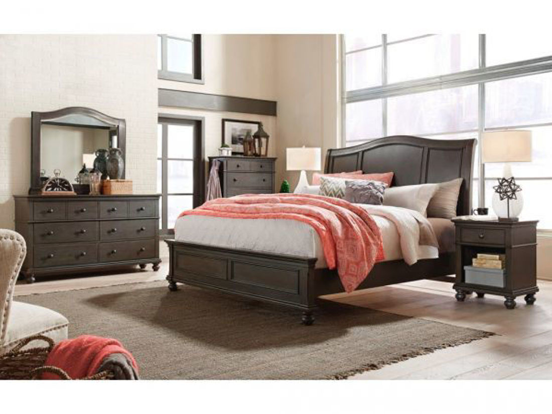 Picture of OXFORD PEPPER CORN KING SLEIGH BEDROOM SET
