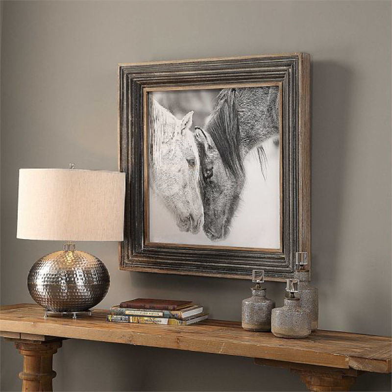 Picture of BLACK AND WHITE HORSES FRAME