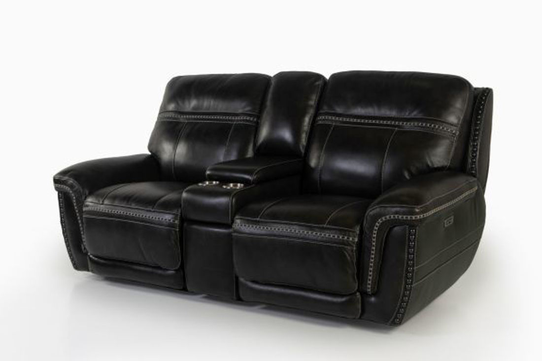 Picture of LONGHORN PEWTER LEATHER POWER RECLINING LOVESEAT