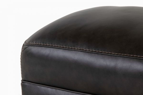 Picture of LUXE COAL LEATHER OTTOMAN
