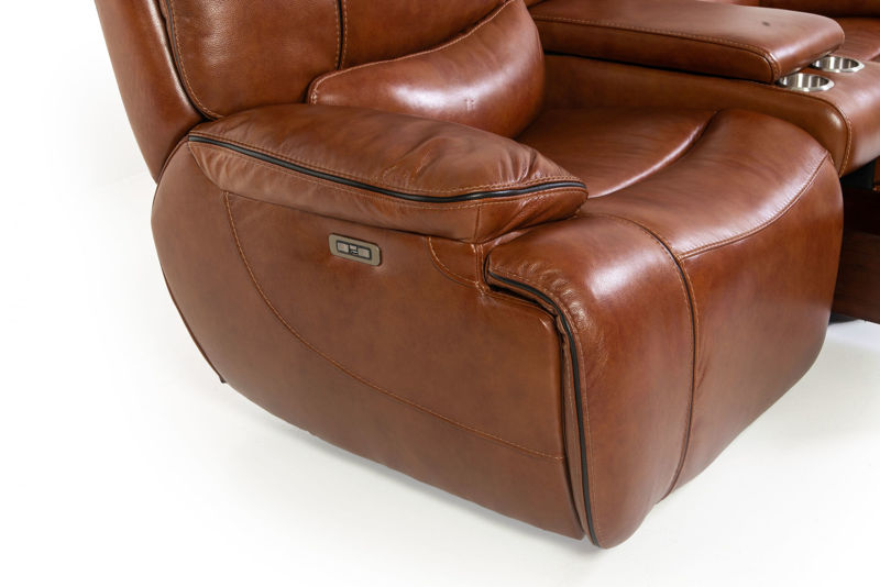 Picture of STAMPEDE CHESTNUT LEATHER POWER RECLINING LOVESEAT