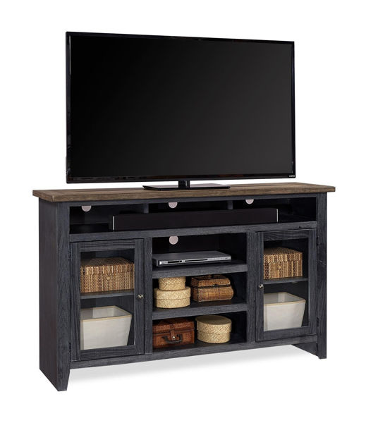 "Picture of EASTPORT 65"" DRIFTED BLACK HIGHBOY TV CONSOLE"