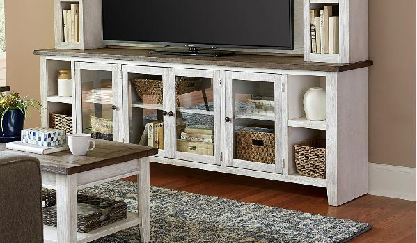 """Picture of EASTPORT 97"""" DRIFTED WHITE TV CONSOLE"""
