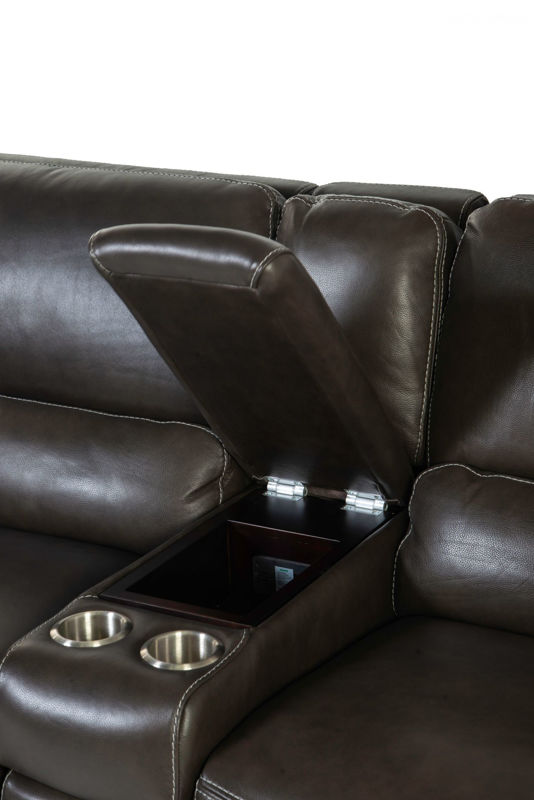 Picture of FERRARA SMOKE ALL LEATHER POWER RECLINING LOVESEAT