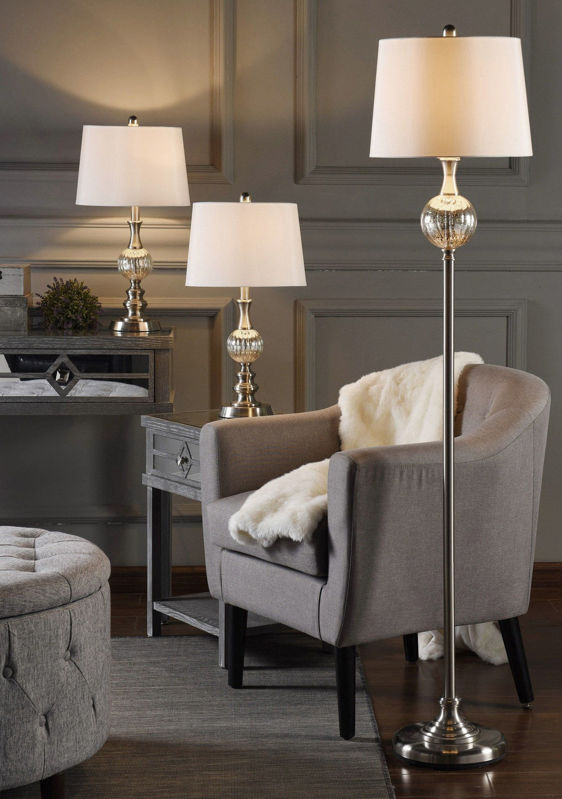Picture of MERCURY GLASS AND BRUSHED STEEL LAMPS