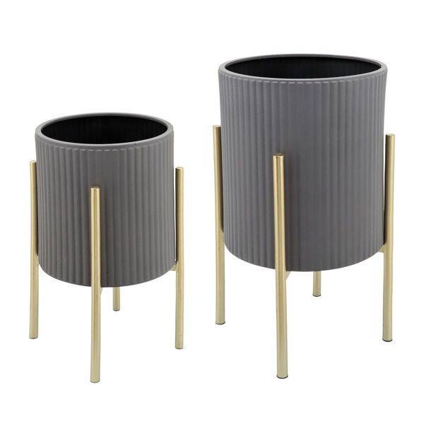 Picture of GRAY/GOLD PLANTERS ON STANDS